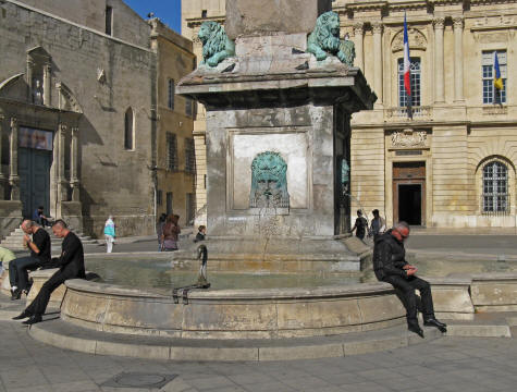 Fountain in Place de la Republique, Arles France